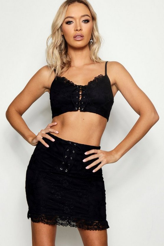 Lace Up Lace Skirt Co-ord Set, Black, ЖЕНСКОЕ