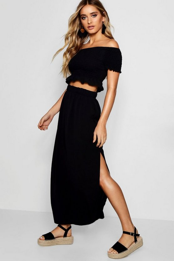 Womens Black Shirred Bardot Top Maxi Skirt Co-ord Set