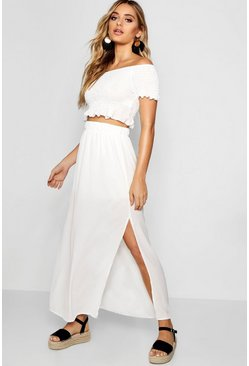 Womens White Shirred Bardot Top Maxi Skirt Co-ord Set