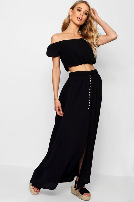 Button Split Maxi Bardot Top Co-ord Set