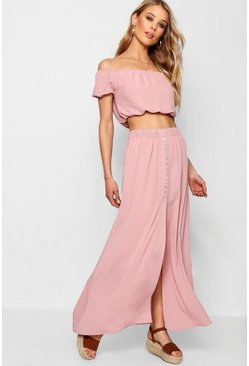 Womens Blush Button Split Maxi Bardot Top Co-ord Set