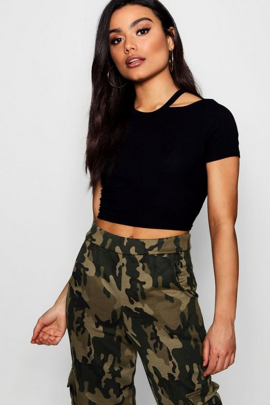 Womens Black Rib Cut Away Neck Crop T-Shirt