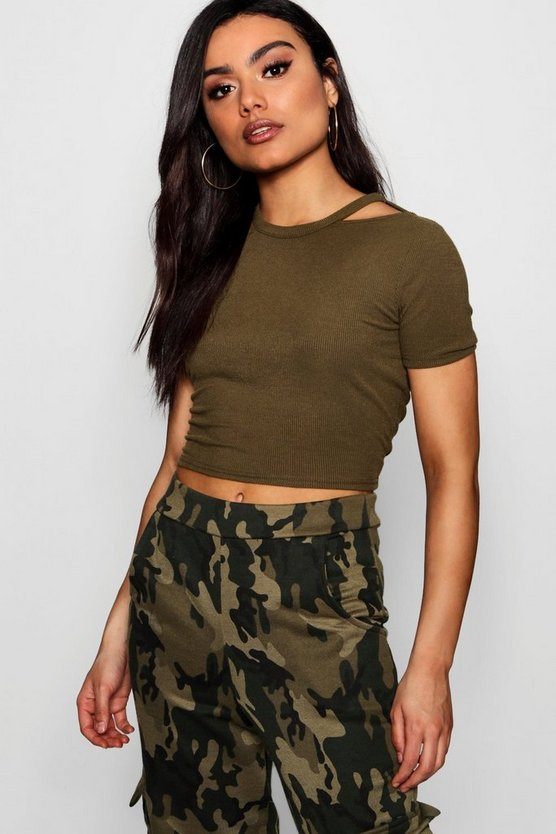 Rib Cut Away Neck Crop T-Shirt