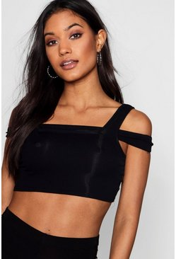 Womens Black Rib Bardot Strap Crop Top