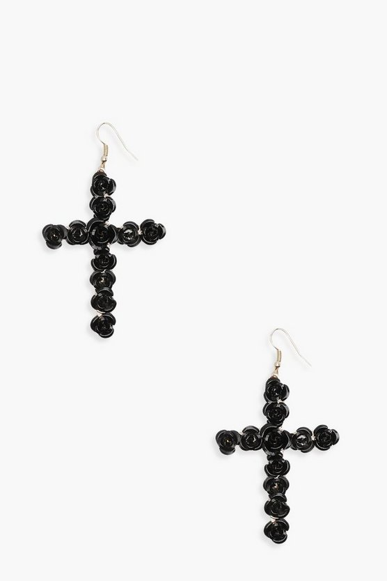 Statement Rose Cross Earrings
