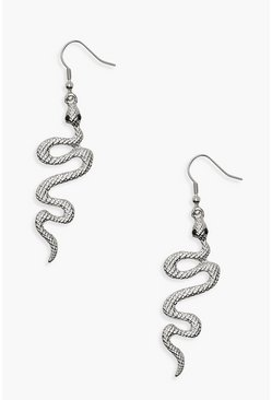 Womens Silver Snake Earrings