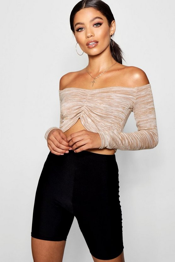 Ruched Front Rib Knit Crop