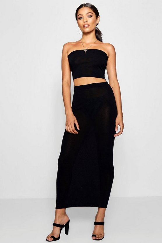 Knitted Bandeau And Midi Skirt Set