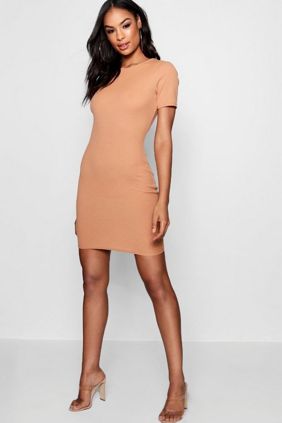 Crew Neck Rib Knit Bodycon Dress