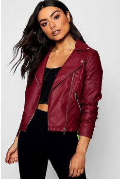 Womens Burgundy Faux Leather Biker Jacket