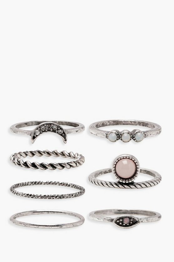 Womens Silver Moon Stone Detail Rings 7 Pack