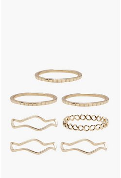 Gold Delicate Rings 7 Pack
