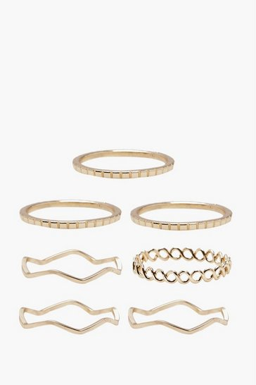 Womens Gold Delicate Rings 7 Pack