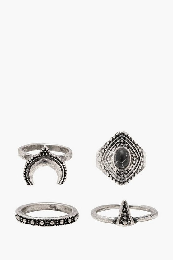 Boho Horn And Stone Rings 4 Pack