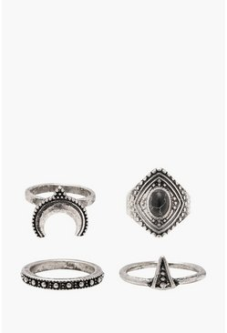 Womens Silver Boho Horn And Stone Rings 4 Pack
