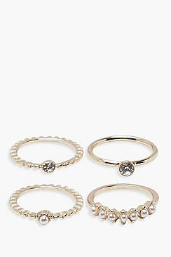 Fiona Faux Pearl Diamante Rings 4 Pack