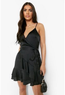 Womens Black Satin Frill Skirt Wrap Skater Dress