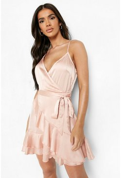 Womens Champagne Satin Frill Skirt Wrap Skater Dress