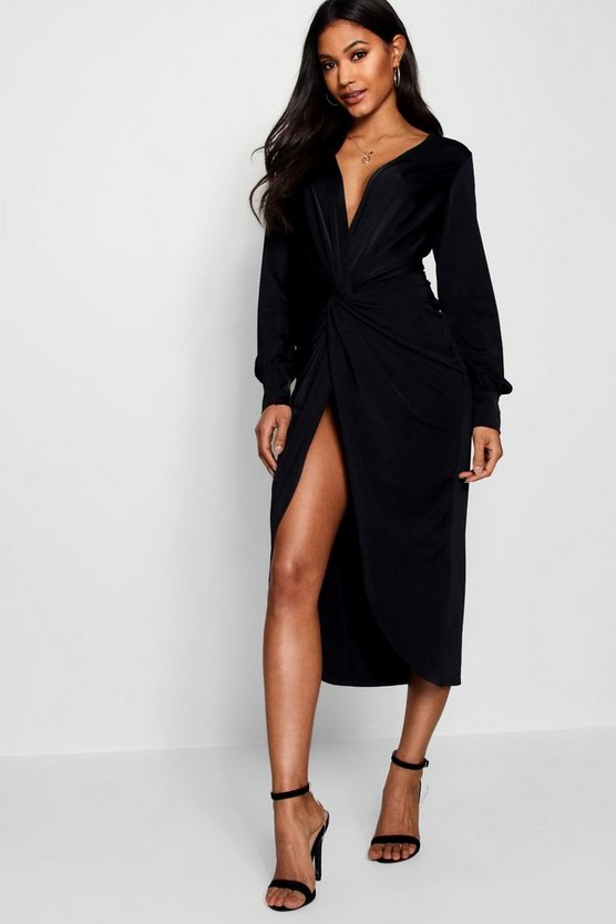 Womens Black Twist Front Plunge Slinky Midi Dress