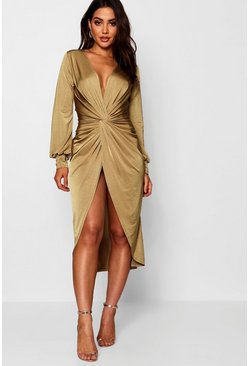 Womens Sage Twist Front Plunge Slinky Midi Dress