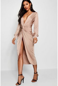 Stone Twist Front Plunge Slinky Midi Dress