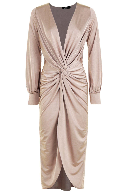 Перекрученный спереди обтягивающее миди платье с глубоким декольте, Stone