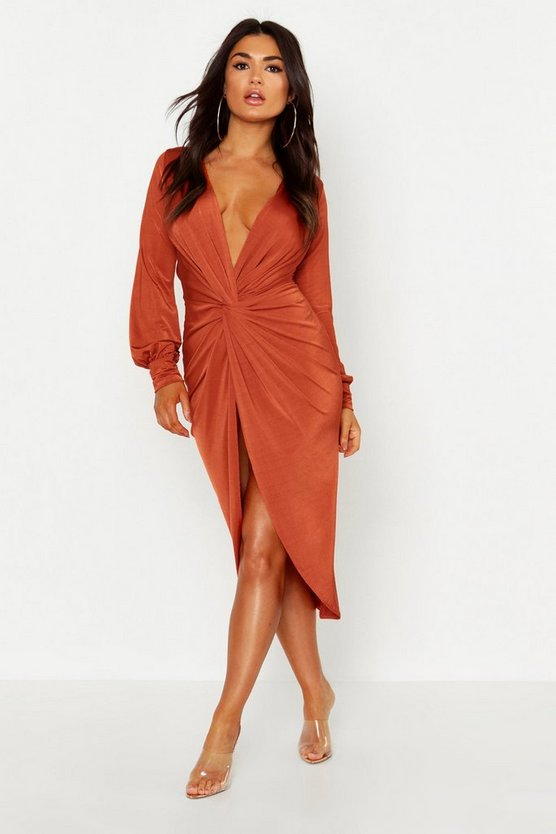 Twist Front Plunge Slinky Midi Dress