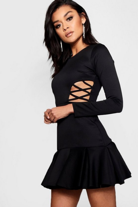 Frill Hem Cut Out Detail Mini Dress