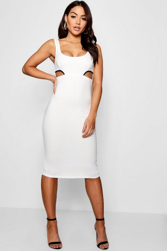 Contrast Cut Out Midi Dress