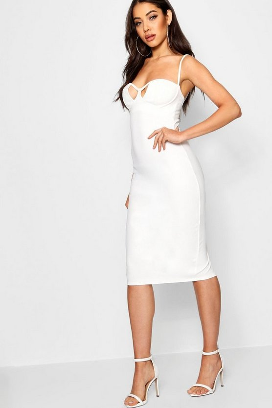 Womens Cut Out Detail Midi Bodycon Dress