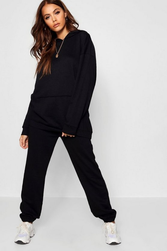 Womens Black Athleisure Oversized Tracksuit