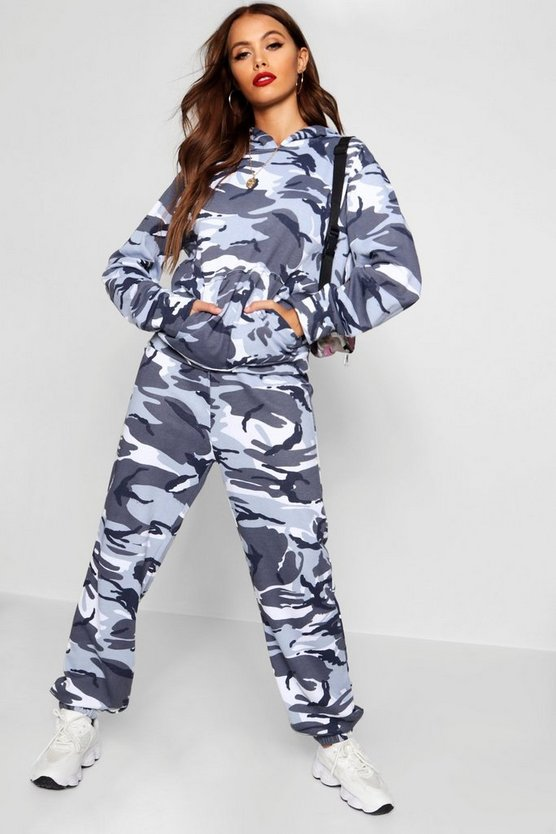 Womens Grey Slim Fit Camo Tracksuit