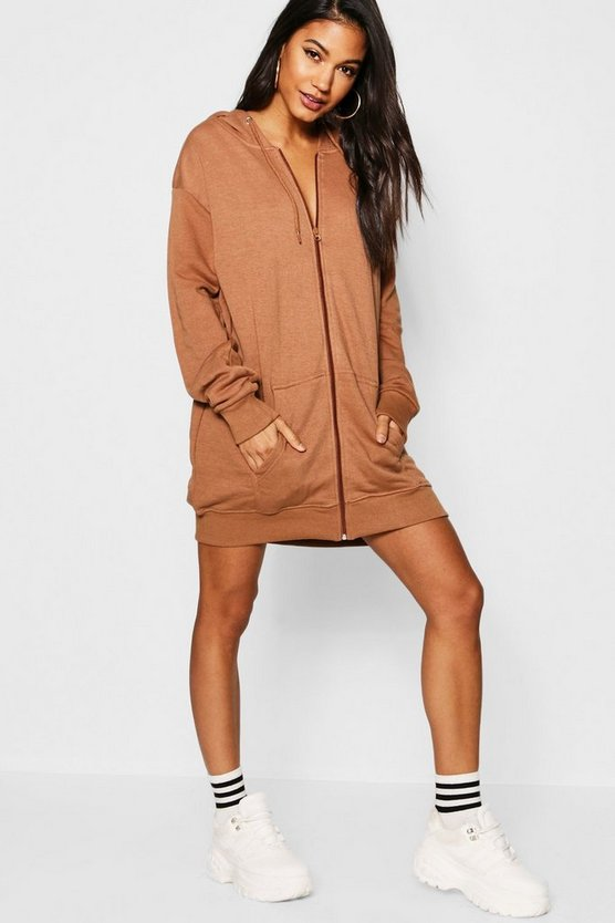 Athleisure Oversize Zip Through Hooded Dress