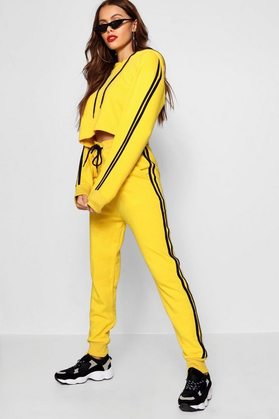 Athleisure Contrast Side Stripe Tracksuit, Yellow, ЖЕНСКОЕ
