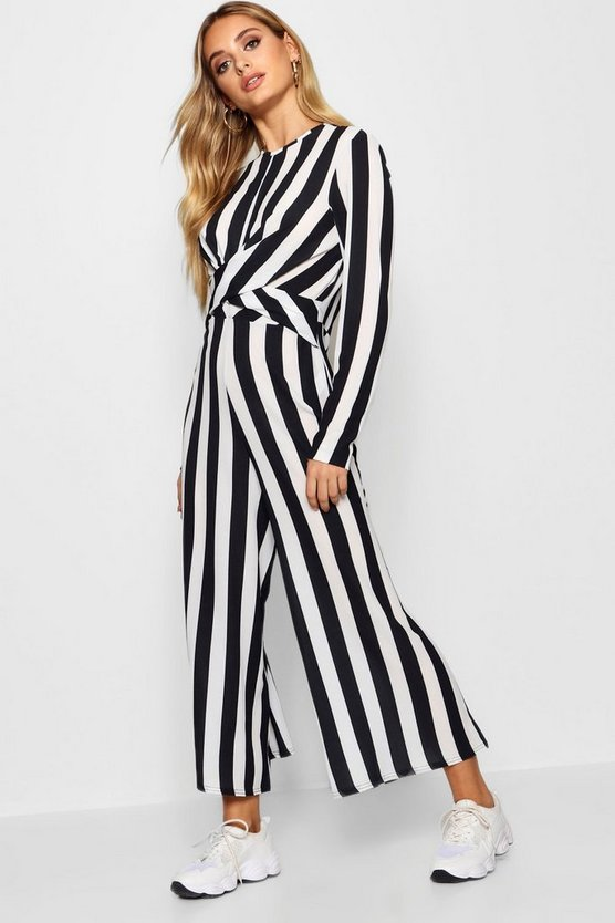 Womens Black Monochrome Stripe Twist Front Jumpsuit