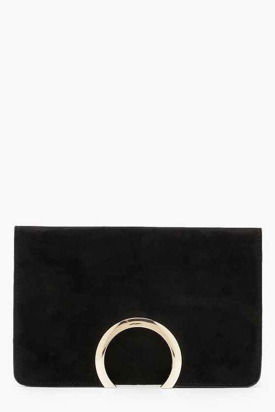Womens Black Metal Circle Suedette Clutch With Chain