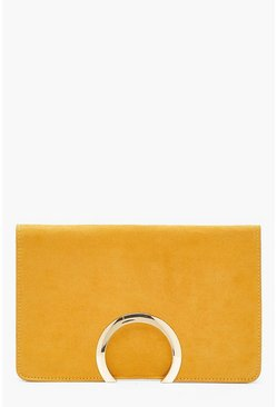 Womens Mustard Metal Circle Suedette Clutch With Chain