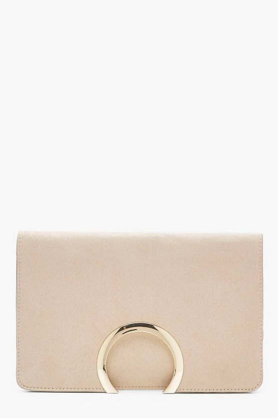Metal Circle Suedette Clutch With Chain