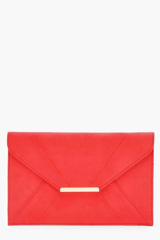 Womens Coral Panelled Suedette Clutch