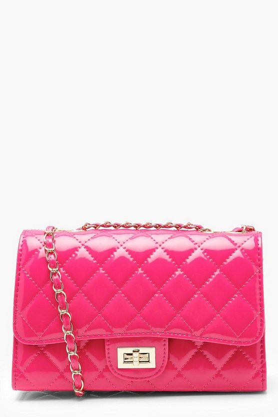 Womens Pink Patent Quilted Cross Body Bag