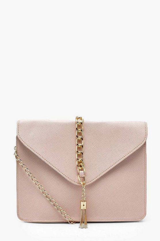 Womens Nude Crosshatch Chain Tassel Cross Body