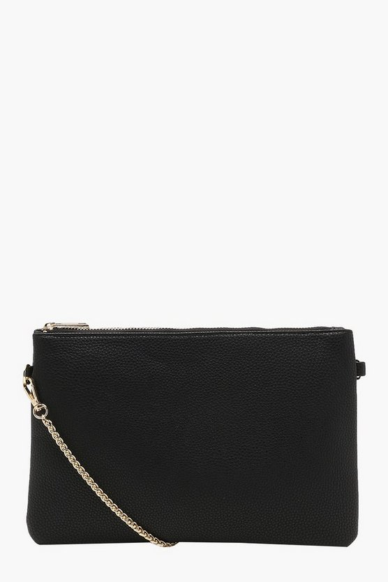 Womens Black Chunky Chain Cross Body