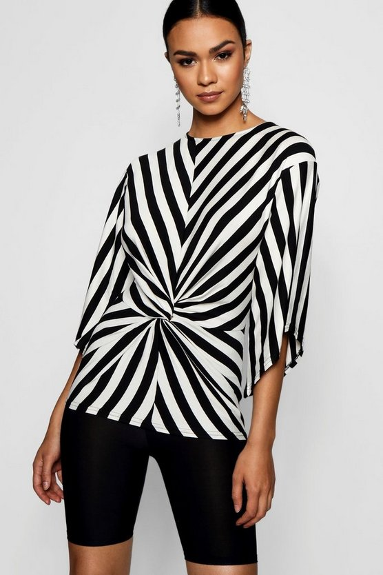 Humbug stripe Knot Front Woven Top