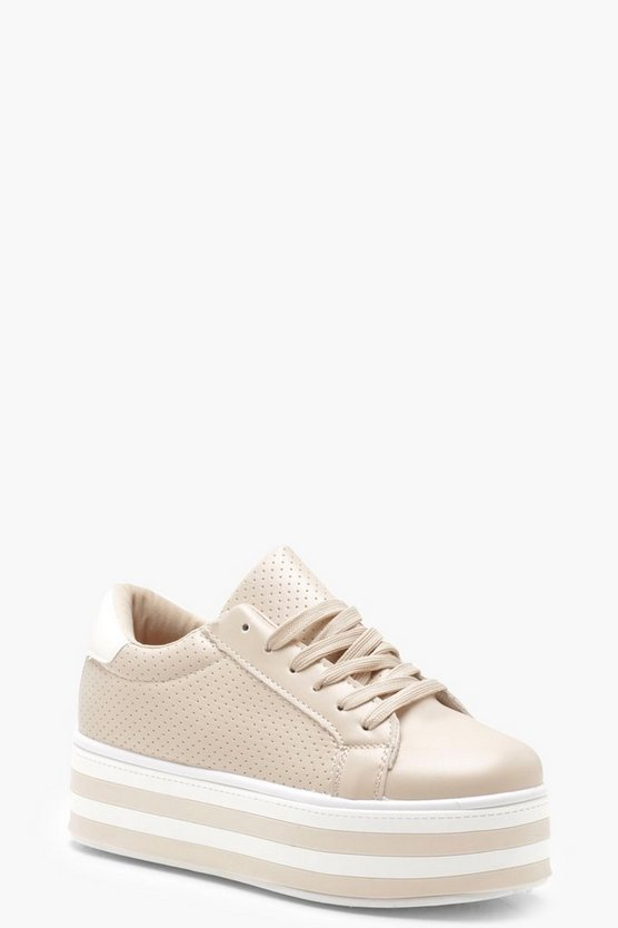 Stripe Sole Platform Trainers