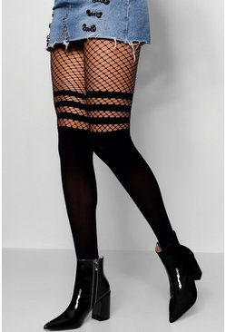 Womens Black Sports Stripe Mock Hold Up Fishnet Tights