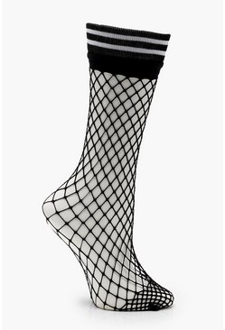 Womens Black Sports Stripe Fishnet Ankle Socks