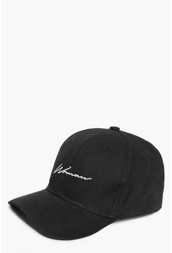Womens Black Woman Script Embroidered Cap