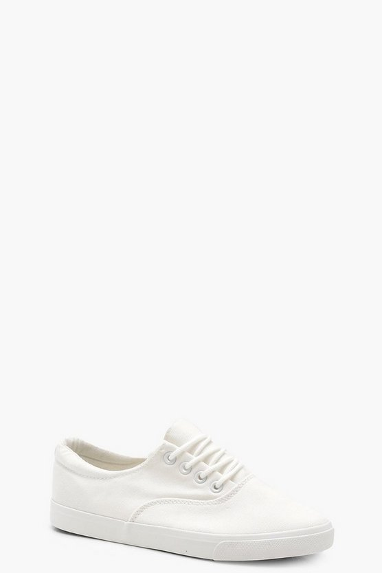Womens White Lace Up Basic Pumps