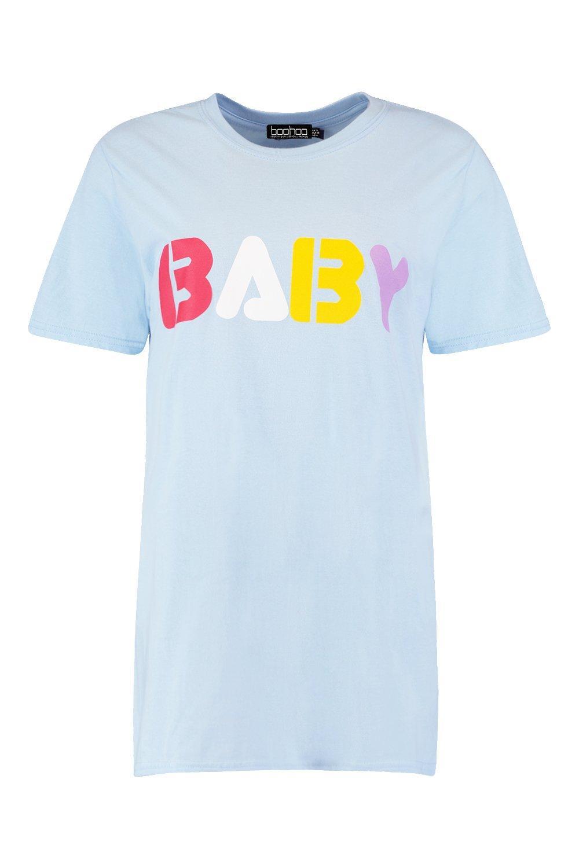 """de estampado Camiseta """"Baby con eslogan colores qtwPwx4Rf"""