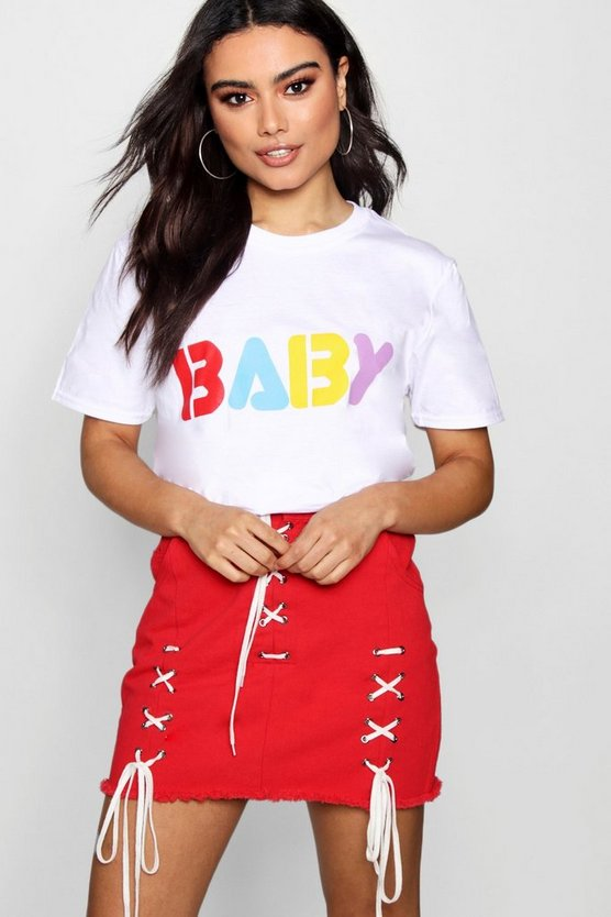 Colour Print Baby Slogan Tee